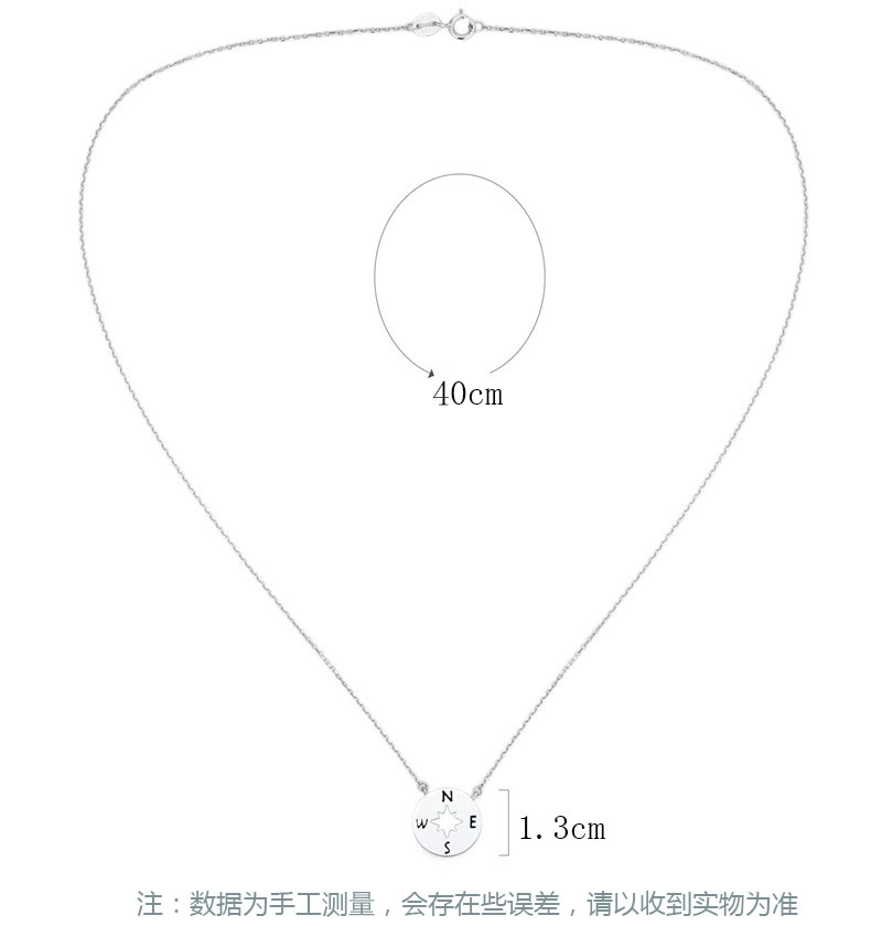 2019 Hot 925 sterling silver compass hollow female necklace fashion platinum plated ladies necklace silver 925 jewelry in Necklaces from Jewelry Accessories
