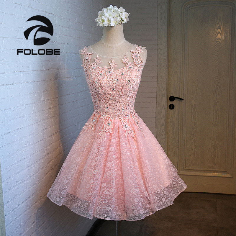 FOLOBE 3 Colors Women Girl Lace Dress Elegant Vintage Applique Beading Pleated Ball Gown Evening Party