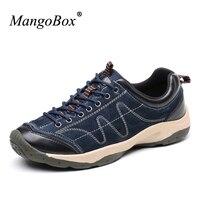 Mangobox מעקב עור 2017 גברים נעלי הליכה גברים נעלי אביב/סתיו גברים נעלי ספורט וטיולים חום/כחול נעלי הליכה Mens