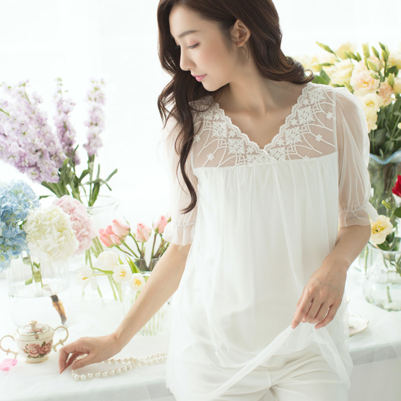 New Summer Women Princess Lace Cotton   Pajamas     Set   Women Short Sleeve Tops and Pants Nightwear Ladies Sleepwear TG1774