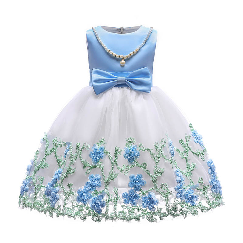 2018 New Children Ball-Gown Dresses for Girl Summer Beach Princess Party Sundress Embroidery Floral Dress For Little Todder Kids