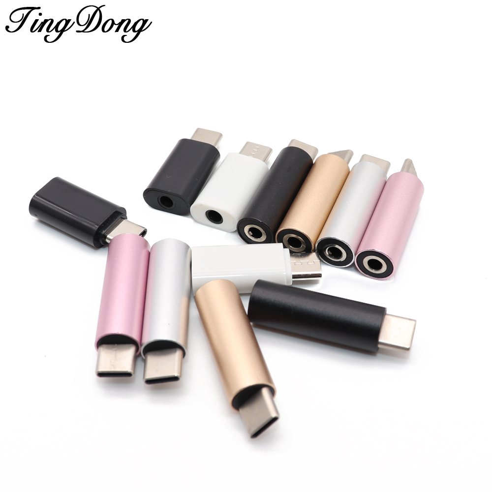 TingDong Type C USB C To 3.5mm Audio Adapter For External Microphone For  3.5mm Audio Jack Headphone Mic Adapter USB-C