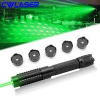 CWLASER 10000 м Высокое Мощность 5 в 1 532nm фокус горения Лазерная Зеленая лазерная указка с защитные очки и роскошный чехол