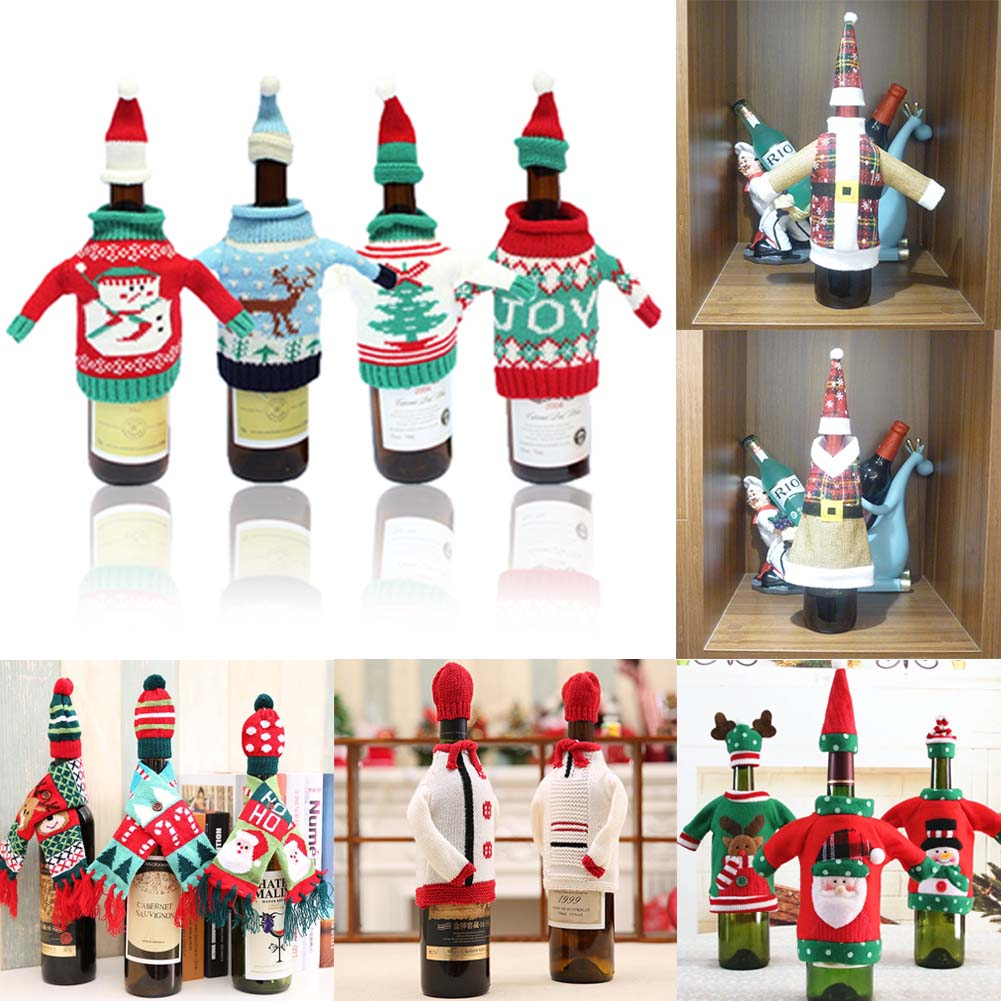 One Set Christmas Decorations Wine Bottle Sweater Cover Bag Santa Claus Knitting Hats for New Year Xmas Home Dinner Party Decor