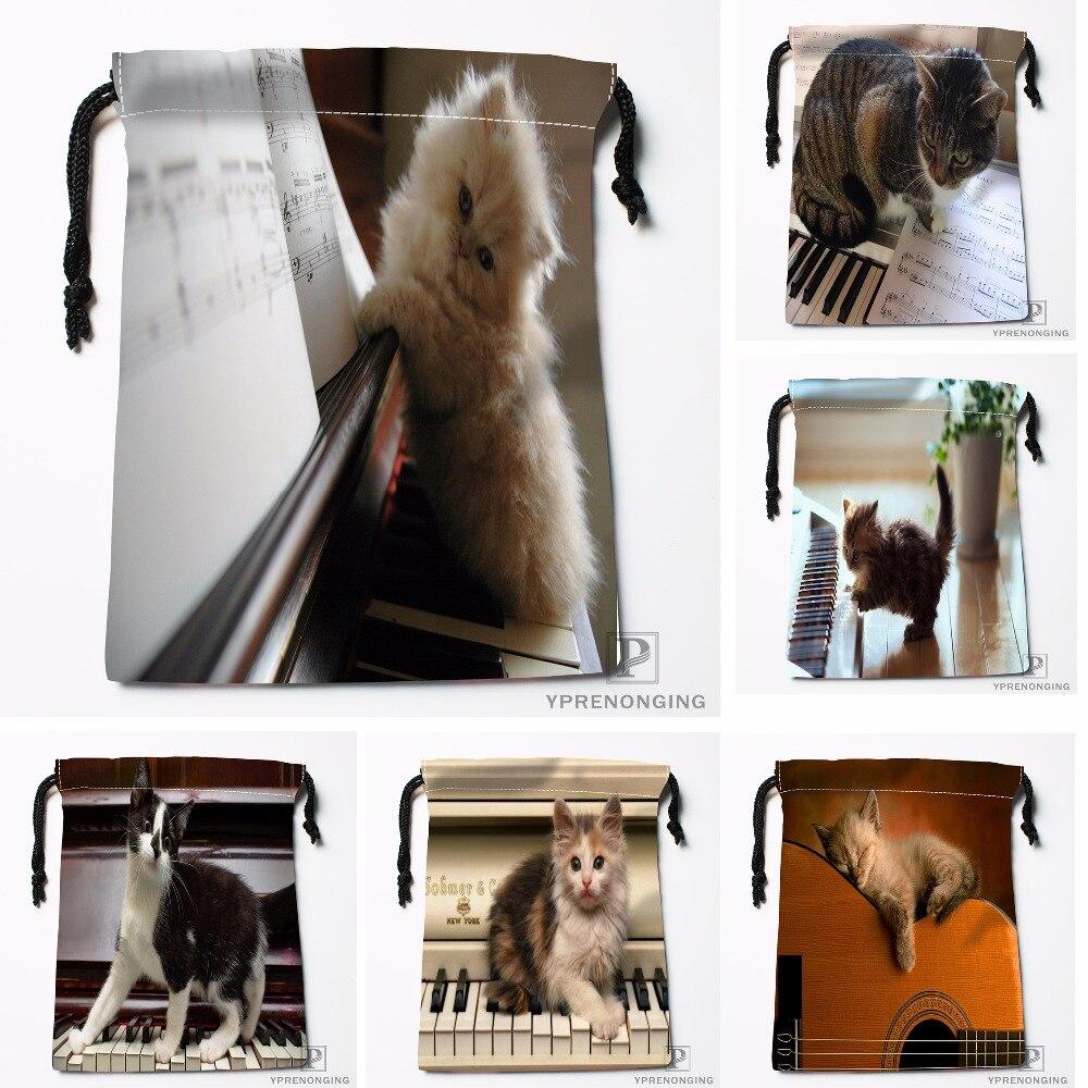 Custom Piano Cat By Bella Brito Drawstring Bags Travel Storage Mini Pouch Swim Hiking Toy Bag Size 18x22cm#0412-04-219