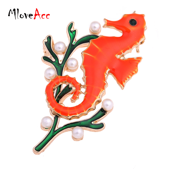 MloveAcc New Fashion  Simulated Pearl Animal Sea Horse Brooches Enamel Women Collar Brooch Pins Accessories