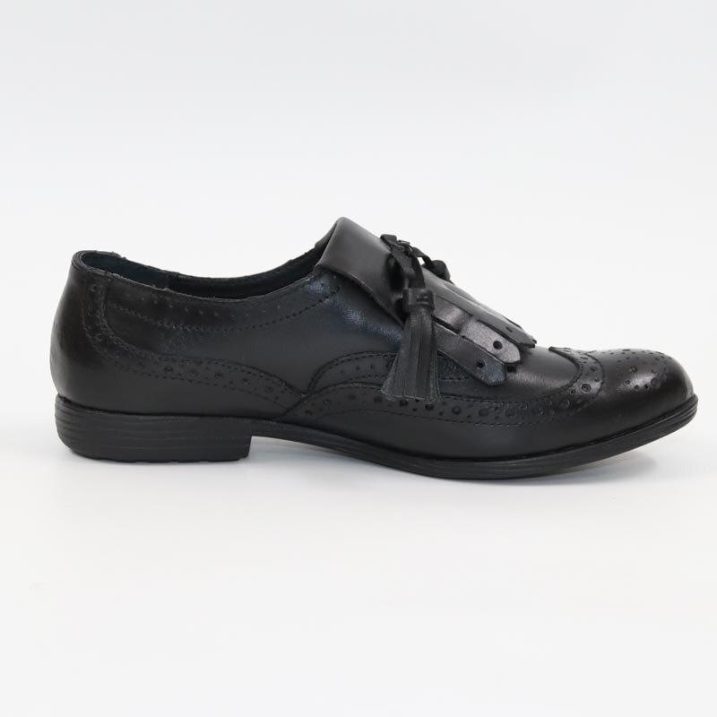 La Vendimia Mujeres Reina Cuero Piel Clásico Zapatos Plano Las Mujer Borla Fondo Solos 41 Negro De Vaca 36 A45xwqF