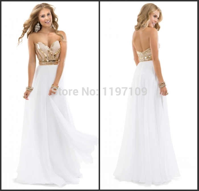 Popular Gold and White Prom Dress 2015-Buy Cheap Gold and White ...