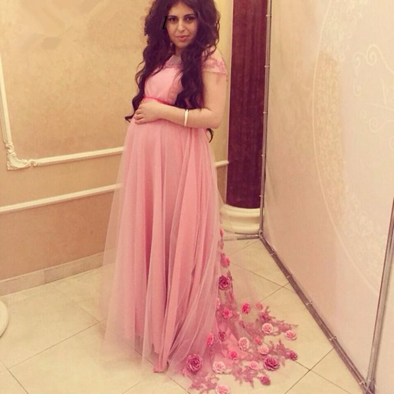 Pink Maternity Evening Dress with Flowers for Pregnant Woman Elegant ...