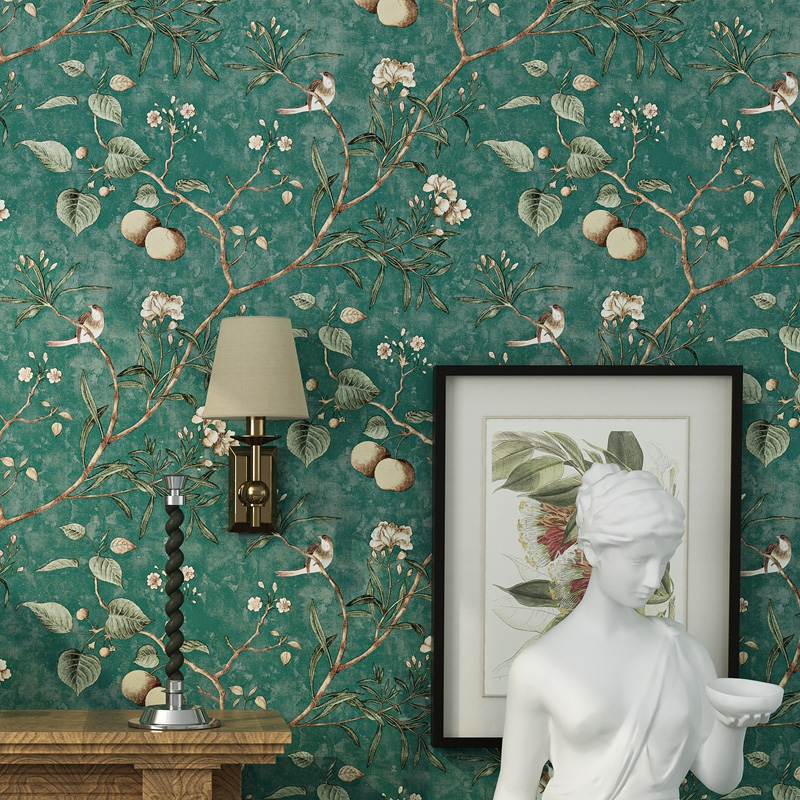 American country wallpapers rustic style vintage nostalgic living room bedroom dark green flowers and birds TV back wall paper