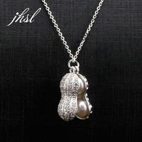 JHSL Brand Cute 925 Sterling Silver Round Freshwater Pearl Necklace Pendant Women Girl Female Classic Elegant Fine Jewelry