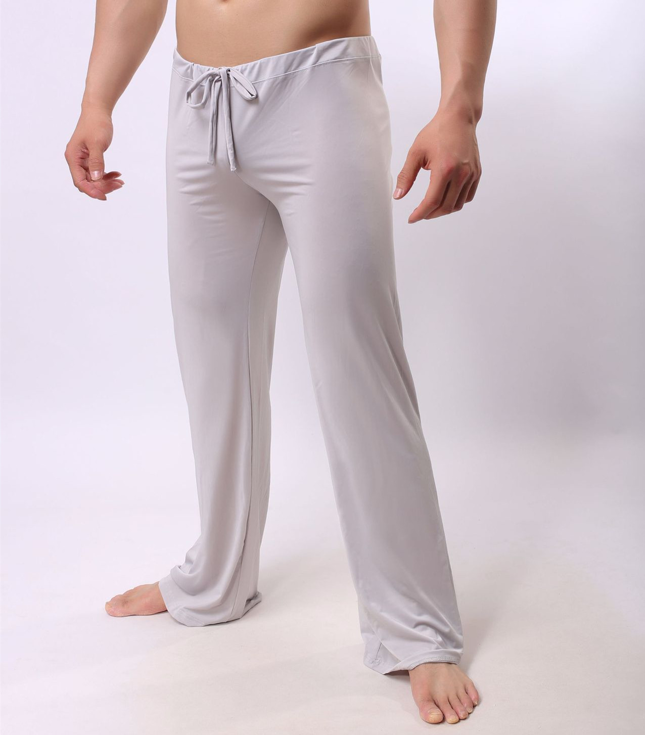 Sexy Male Sleep Bottoms Lounge Pants Soft Ice Silk Home Clothes Men's Casual Pants Breathable Homewear Lacing Pyjamas Trousers