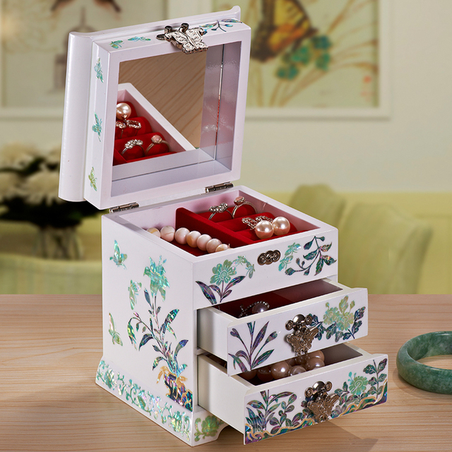 Wedding Gifts for Collection Jewelry Box Organizer Storage Case Wood