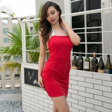 Summer North America Hot New Personality Knit Pure Strap Hollow Sexy Women Dress