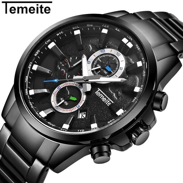69fc843483a Marca de luxo mens relógios de quartzo ouro negro 316L temeite homem dos  esportes de aço