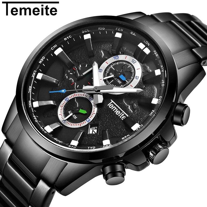 temeite brand luxury mens watches black gold quartz 316L stainless steel sports man wristwatch Multifunction waterproof calendar