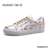 Women Sneakers 2018 Fashion Sweet Vulcanized Shoes Woman Pu leather Platform Shoes Women Lace up Casual Shoes White gold sneaker