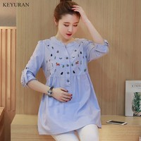 Waist Pleated Embroidery Cotton Maternity Shirt Spring Summer Blouse Tops Clothes For Pregnant Women Pregnancy Clothing