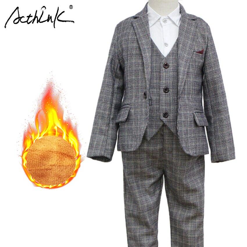 New Boys Winter Plaid Clothing Set Brand 3Pcs Children Vest Suit with Fleece Boys Stylish Winter Blazer Tuxedos Kids Warm Suit цена