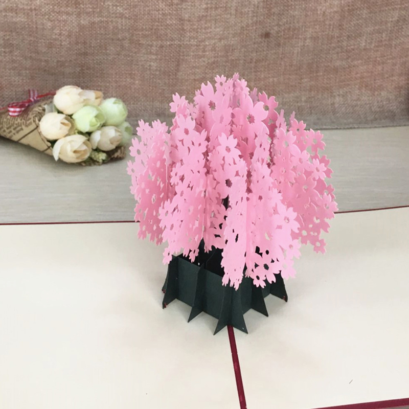 1pcs Laser Cut Kirigami 3D Pop UP Greeting & Gift Cards Gorgeous Cherry Blossoms Handmade Creative Thank You Cards Teachers' Day (4)