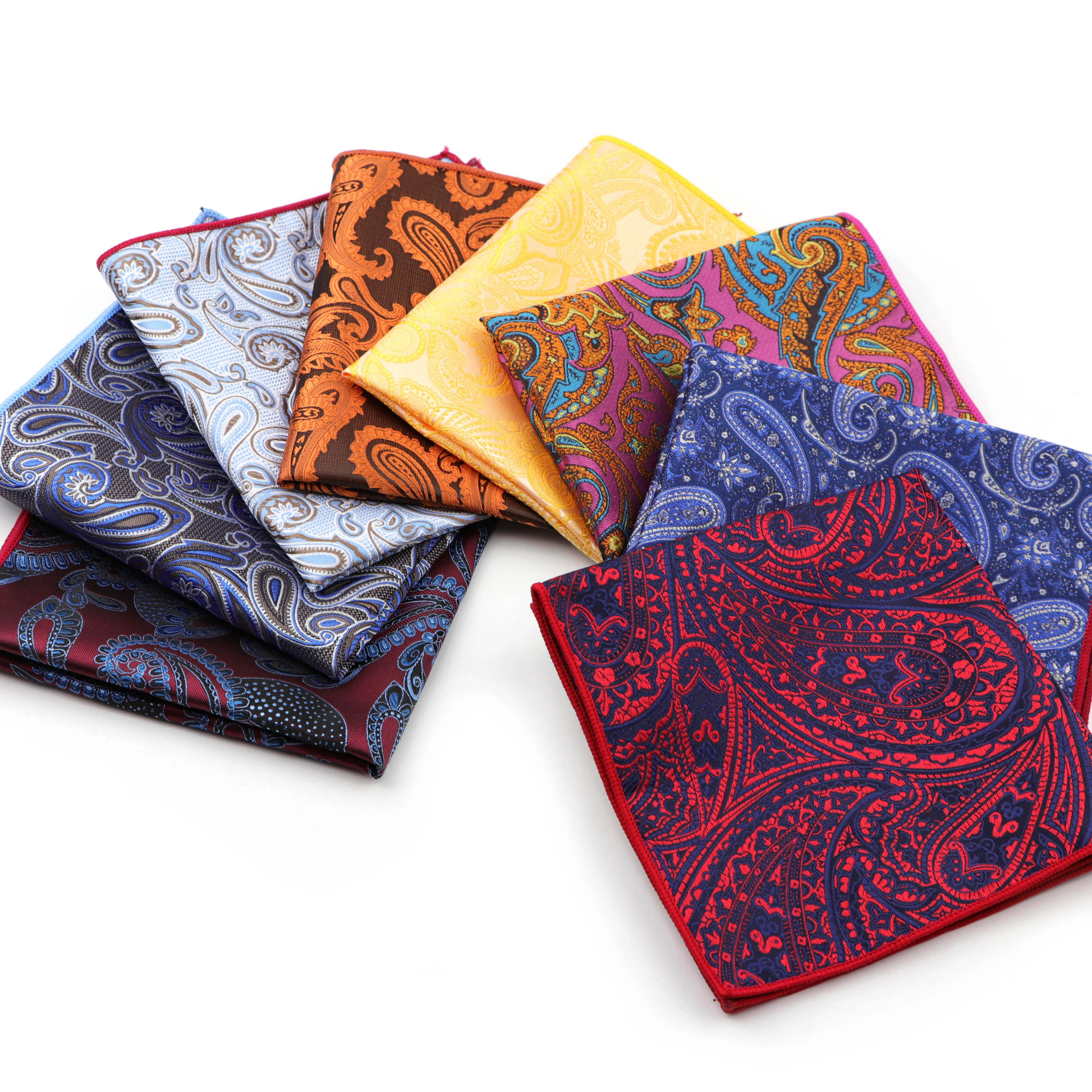 Men's Handkerchief Paisley Polyester Scarves Vintage Fabric Business Pocket Squares Hanky