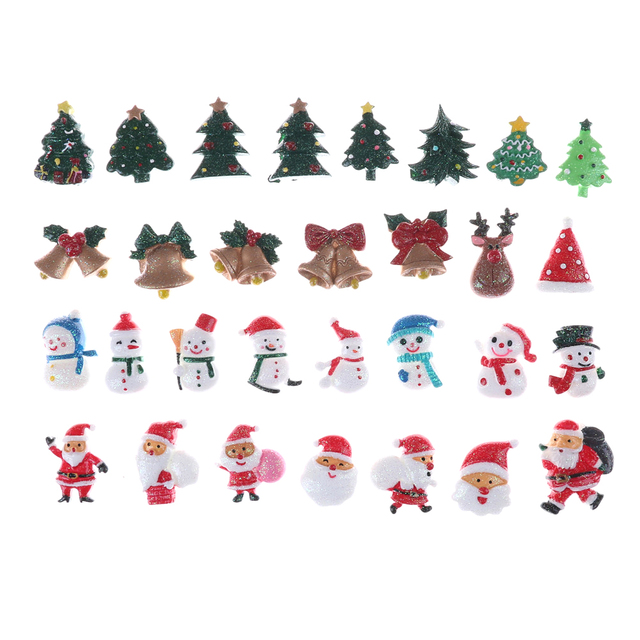 Miniature Christmas Ornaments.Us 2 13 Christmas Set 10pcs Lot Resin Flatback Cabochon For Hair Bow Center Diy Hot Selling Resin In Figurines Miniatures From Home Garden On