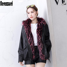Nerazzurri Winter fur parka women black female detachable faux fur lining jacket thicken plus size fox fur collar coat 5xl 6xl(China)