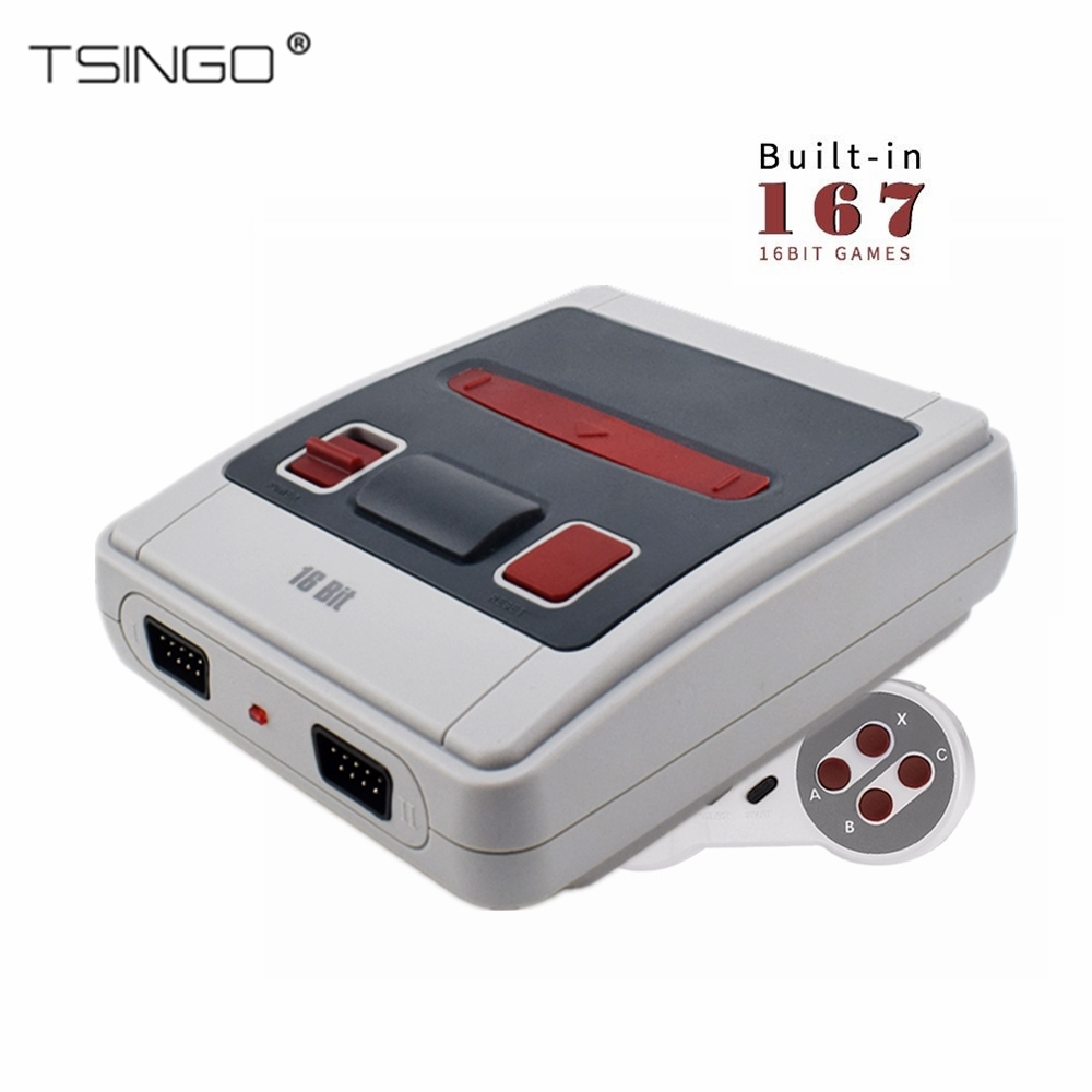 TSINGO 16Bit Built-In 167 Classic Game Mini TV Video Game Console AV Output Retro Family Handheld Game Player PAL/NTSC Best Gift