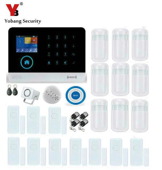 YobangSecurity WIFI GSM RFID Burglar Alarm System IOS Android APP Smoke Fire Detector Sensor House Alarm System Wireless Siren yobangsecurity gsm wifi burglar alarm system security home android ios app control wired siren pir door alarm sensor