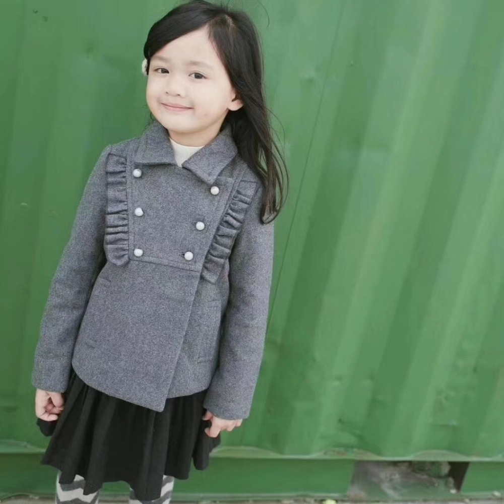 Girls wool coat solid gray turn-down collar Double-breasted toddler baby girls winter outwear faux fur turn down collar single breasted pu leather spliced woolen coat