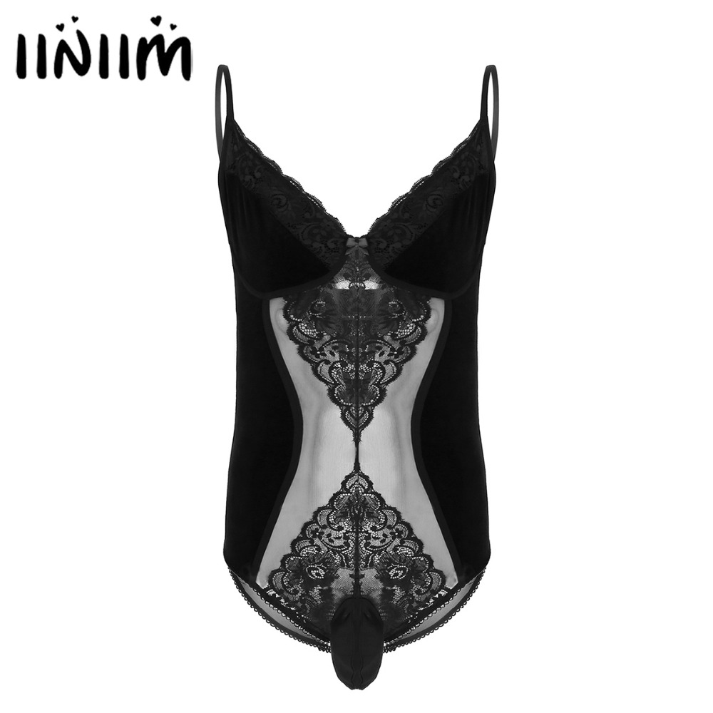 2018 Sexy Gay Mens One-Piece Crossdress Lingerie Adjustable Spaghetti Straps Floral Lace Velvet Sissy Pouch Body Suit Sleepwear