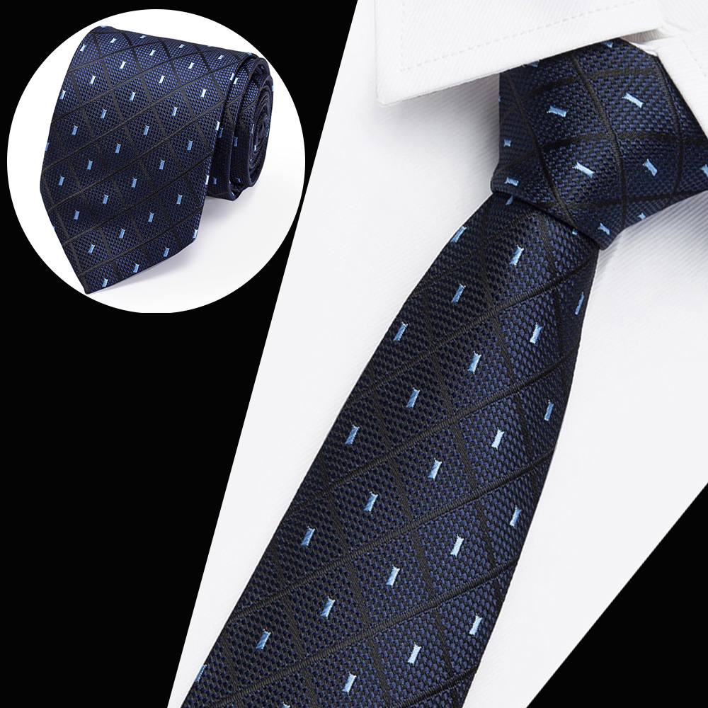 Beautiful New Men's Casual  Ties Classic Polyester Woven Party Neckties Fashion Plaid Dots Man Tie For Wedding Business Male Tie