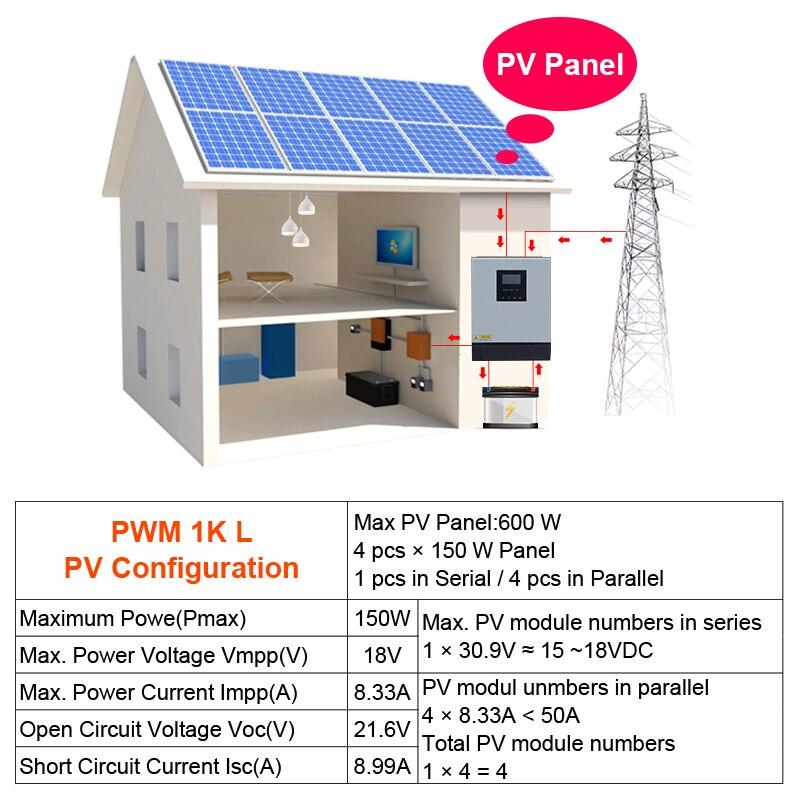 1kva Solar Inverter Pure Sine Wave Hybrid Solar Inverter 12v 220v 800w Built In Pwm Solar Charge Controller For Home Use Solar Inverters Aliexpress