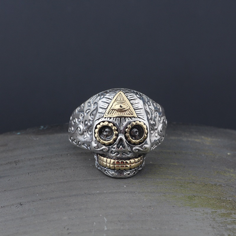Gothic Punk Style Silver 925 God Eye Sugar Skull Rings For Men Wide Cuff Band 925 Sterling Silver Mens Jewelry Top Fashion Man cropped wide sleeve top