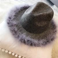 YIFEI hiver femmes autruche cheveux bord Jazz feutrés chapeau pour femmes grand bord cowboy panama feutrés Dames laine feodra chapeau