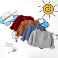 Toddler Girl Autumn Spring Autumn Clothing Solid Sweater Children Button Clothes Baby Kids Bow Knitted Open Stitch 5pcs/LOT