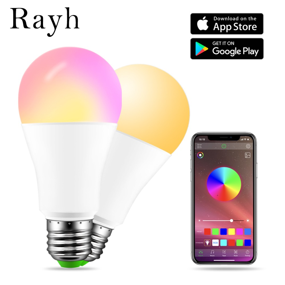 E27 RGBW Bluetooth 4.0 LED Light 15W APP Smart Voice Music Control Light Multi-Color LED Bulb Family Lighting Color Dimmable