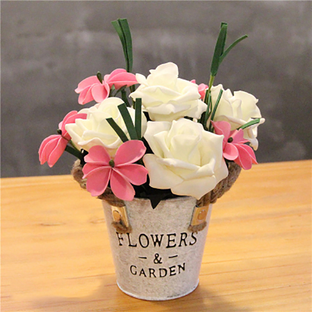 1set Ev Rose Small Circle Hand Made Iron Bucket Artificial Flowers Vase Wedding Home
