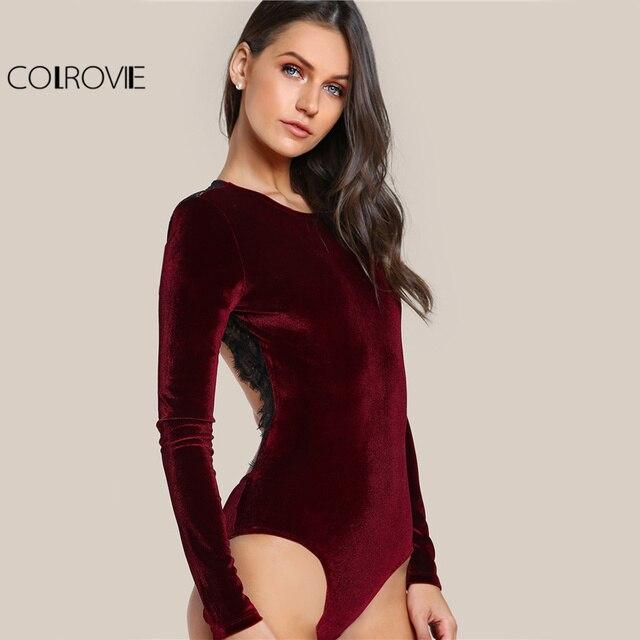 Backless Velvet Elegant Women Applique Long Sleeve Bodysuit 2