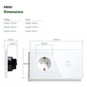 Image 4 - BSEED Interruptor táctil de 1 entrada, 2 entradas, 3 Entradas, 1 vía con enchufe estándar europeo, interruptores de Panel de cristal negro, blanco y dorado