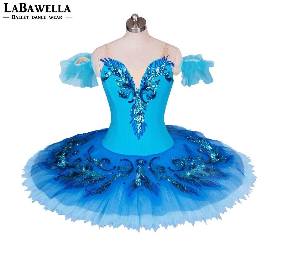Pancake tutu blu donna uccello variazione adulti ragazze tutù di balletto professionale blu balletto classico costume di scena per girlBT9027