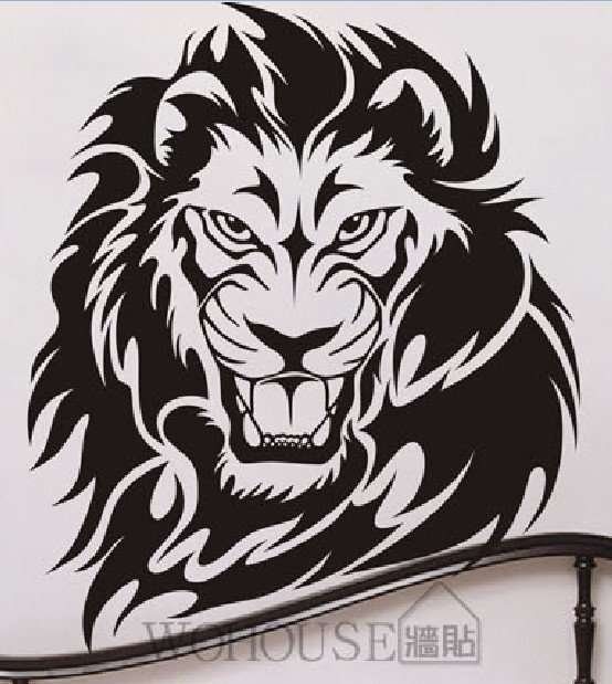 African Animal Vinyl Wall Sticker Lion Wall Sticker Afica Lion Head Room Wall Sticker Bedroom Wall Covering Home Decoration