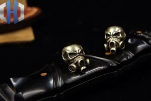 Image 3 - Paracord Beads Brass Skull Anti virus Mask Knife Beads Pure Copper EDC Pendant Beads DIY Flashlight Falls Rope Pendant Keychain