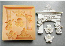 angel European arches foliage silicone fandont mold Silica gel moulds Chocolate molds cake baking decoration tools candy mould