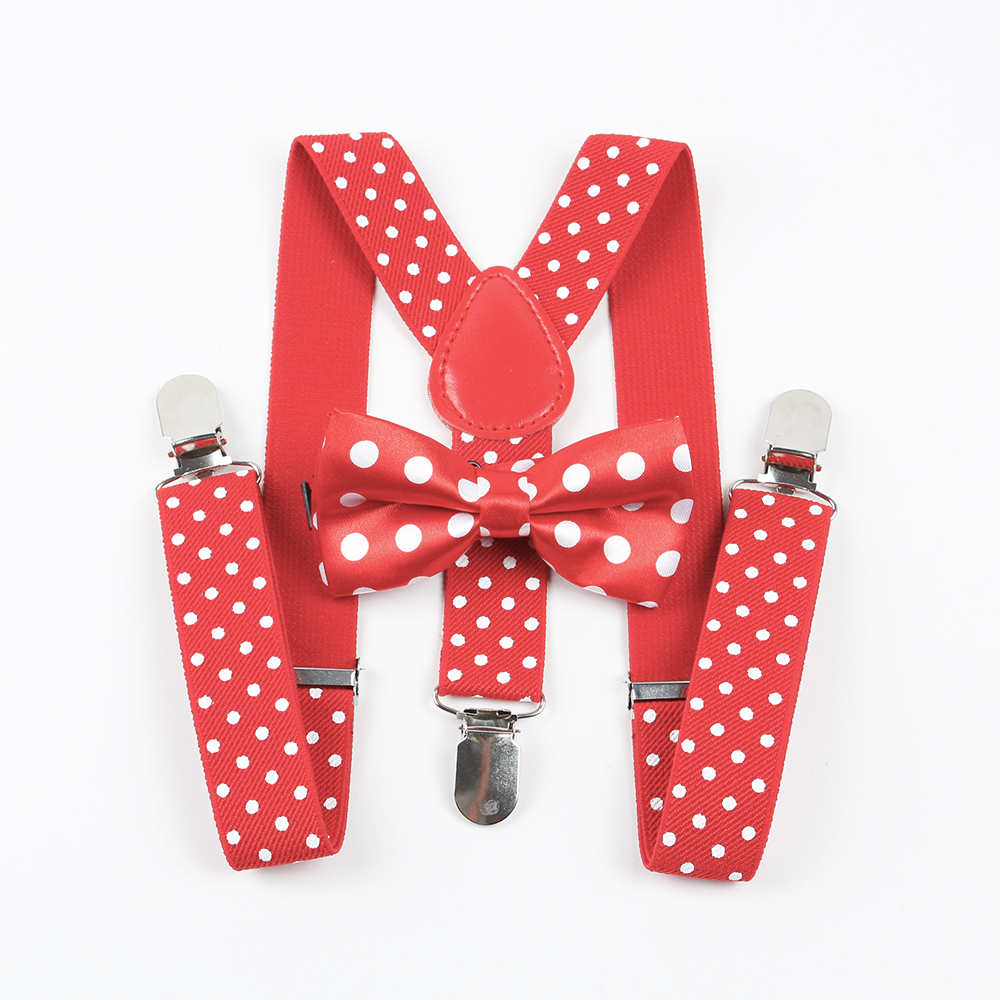 Men's Accessories Mantieqingway Kids Suspenders Tie Bowtie Set 3 Clip-on Y-back Elastic Braces Straps Baby Girls Boy Polka Dots Suspenders Wedding