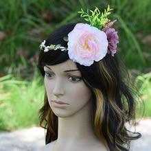 CXADDITIONS Big Peony Flower Acrylic Beads Halo Bridal Floral Crown Hair Band Wreath Head Wedding Headpiece Bridesmaid