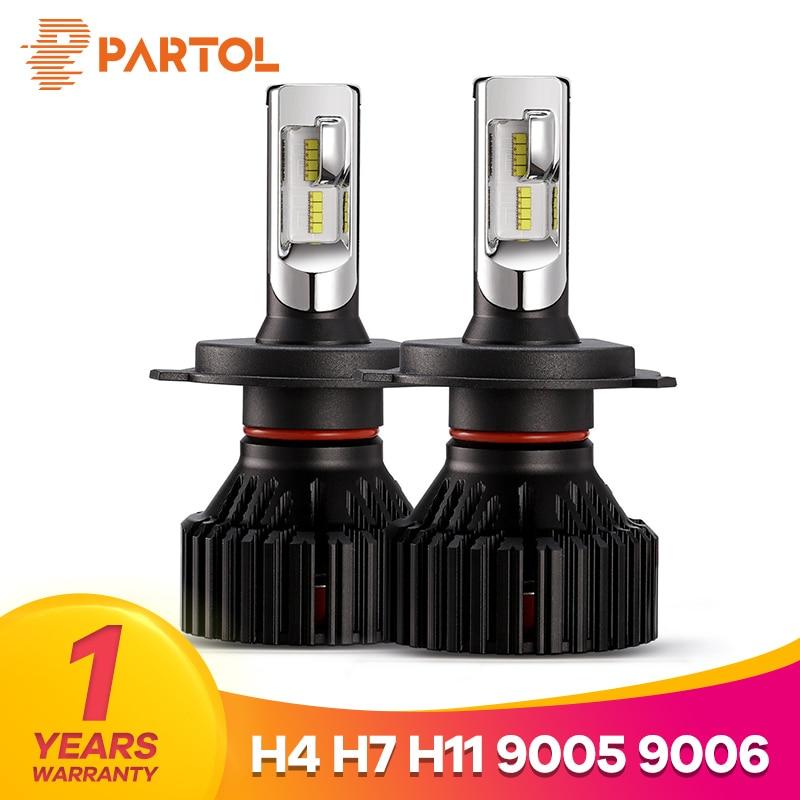Partol T8 H4 Hi-Lo Beam H7 H11 9005 9006 Car LED Headlight Bulbs 60W 8000LM ZES Chips Automible Headlamp Front Lights 6500K 12V