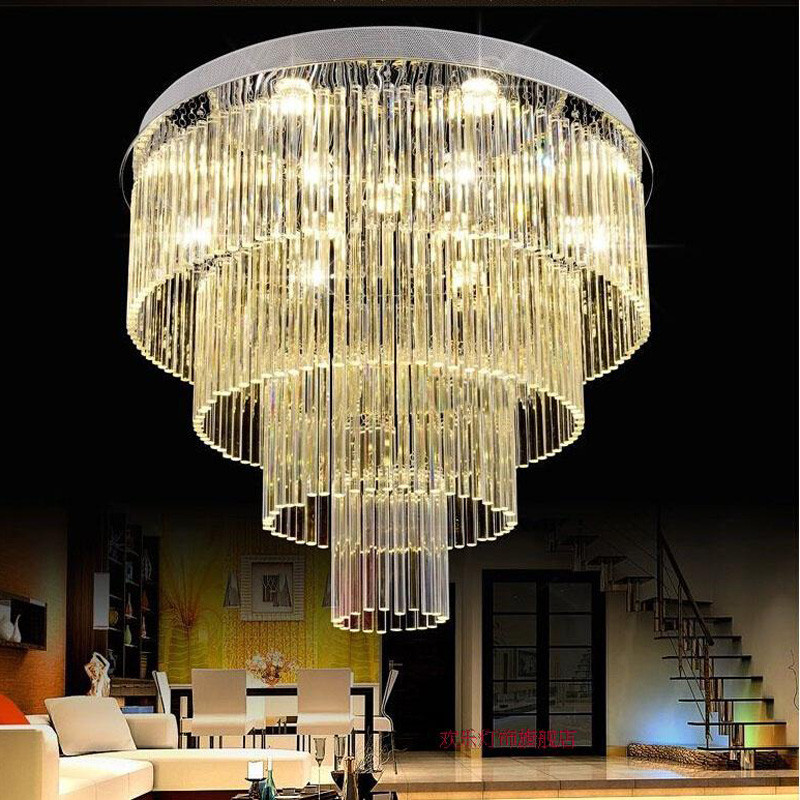 ZYY Luxury Crystal Ceiling Lamp Gold Indoor Lighting Living Room Led Round Ceiling Light Surface Mounted Crystal Ceiling Lights