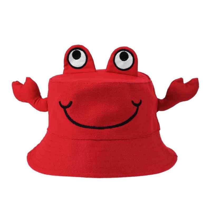 דייג Windproof מגניב שמש כובע קריקטורה סרטן דלי כובעי בנות בני תינוק כובע חיצוני קרם הגנה כובע מוצק ראש ללבוש