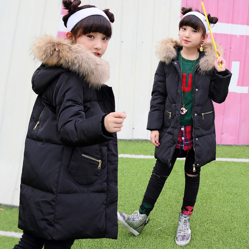 Winter Hooded Jacket for Girls 80% White Duck Down Warm Long Coats Children's Girl Clothing Teenager Jackets High Quality 6-12T princess kids girls winter jackets and coats 80% white duck down warm thick hooded long down coats for teenage girl clothes 6 14